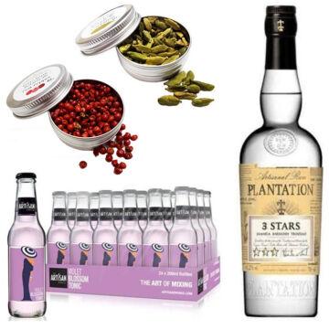 Plantation White Rum & 24 Artisan Violet Blossom Tonik 2 db Ajándék Koktél Fűszerrel