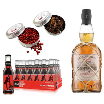 Plantation Rum & 24 Artisan Barrel Smoke Cola 2 db Ajándék Koktél Fűszerrel