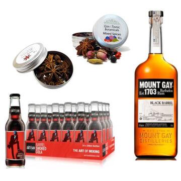 Mount Gay Black Barrel Rum & 24 Artisan Barrel Smoke Cola 2 db Ajándék Koktél Fűszerrel