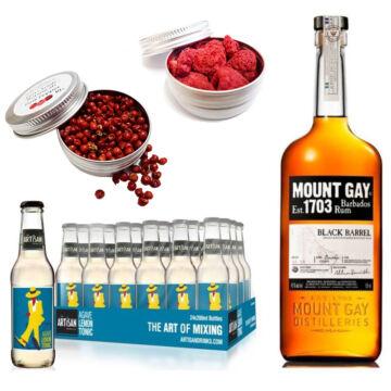Mount Gay Black Barrel Rum & 24 Artisan Lemon Agave Tonik 2 Ajándék Koktél Fűszerrel