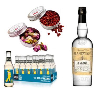 Plantation White Rum & 24 Artisan Lemon Agave Tonik 2 Ajándék Koktél Fűszerrel