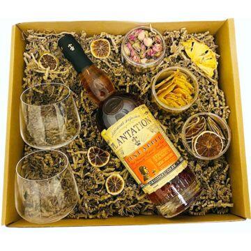 Plantation Rum Szett Rumos poharakkal és koktélfűszerekkel