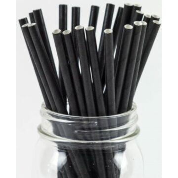 Papír szívószál (standard 6x195mm) fekete, 200 db/csomag