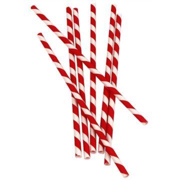 Papír szívószál (standard 6x195mm) piros-fehér csíkos, 200 db/csomag