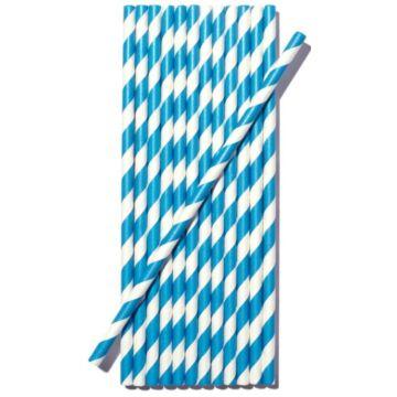 Papír szívószál (standard 6x195mm) kék-fehér csíkos, 200 db/csomag