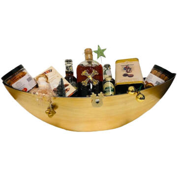 Karácsonyi Bumbu Rum Ajándék csomag Ovális arany dísztálban