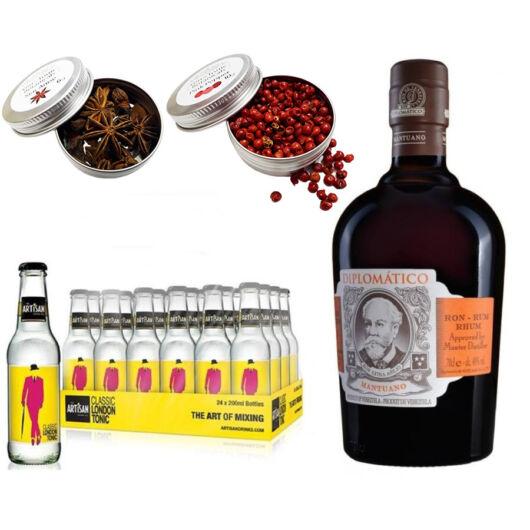 Diplomatico Mantuano Rum & 24 Artisan Classic Tonik 2 db Ajándék Koktél Fűszerrel