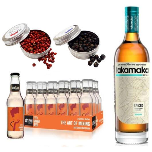 Takamaka Spice Rum & 24 Artisan Gyömbérsör Ajándék 2 db Koktél Fűszerrel