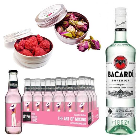 Bacardi White Rum & 24 Artisan Pink Grapefruit Tonik 2 db Ajándék Koktél Fűszerrel