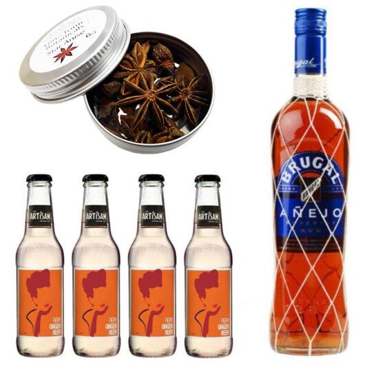 Brugal Rum & Ginger Beer Szett Ajándék Koktélfűszerrel
