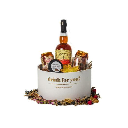 Drink For You feliratos Plantation Rum Ajándék csomag fehér díszdobozban